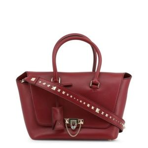 Valentino Red Leather Demilune Small Satchel Tote